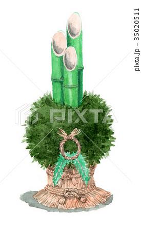 水彩で描いた門松飾り 35020511