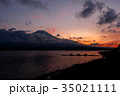 山中湖 富士山 夕焼けの写真 35021111
