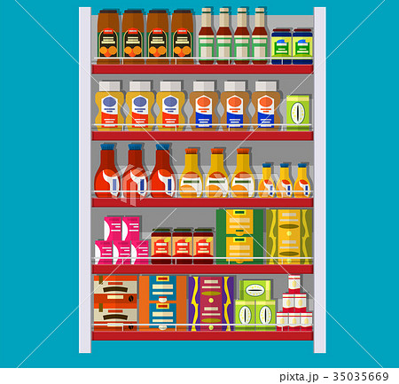 Supermarket shelves with groceries. 35035669