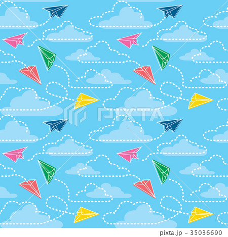 seamless pattern with origami paper airplaneのイラスト素材 35036690