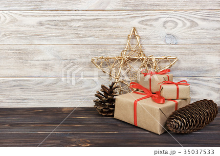 Christmas background with decorations and giftの写真素材 [35037533] - PIXTA