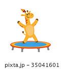 vector flat giraffe jumping on trampoline 35041601