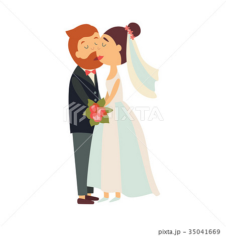 Vector groom and bride kiss each other isolated 35041669