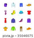 Clothes icons set cartoon 35046075