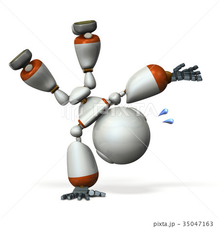 側転するキュートなロボット 35047163