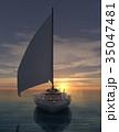 海 ヨット 夕日のイラスト 35047481
