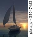 海 ヨット 夕日のイラスト 35047482