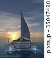 海 ヨット 夕日のイラスト 35047490