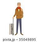 スーツケースを持った男性 高齢者 35049895