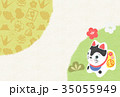 張子 はがきテンプレート 和のイラスト 35055949