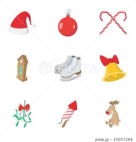 December holiday icons set, cartoon style 35057268