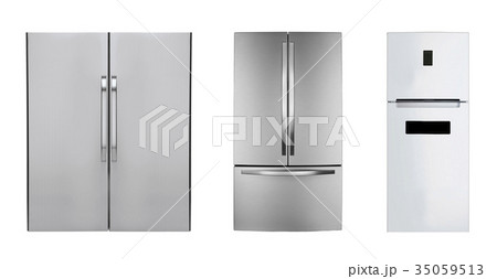 three stainless steel refrigerators isolated 35059513