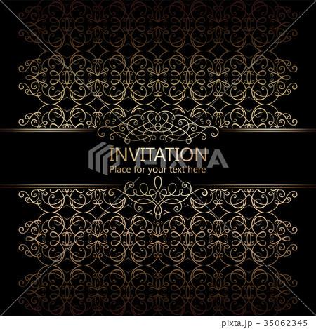 vintage baroque gold invitation cardのイラスト素材 35062345 pixta