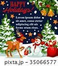 クリスマス グリーティング ベクトルのイラスト 35066577