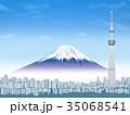 東京スカイツリーと富士山 35068541