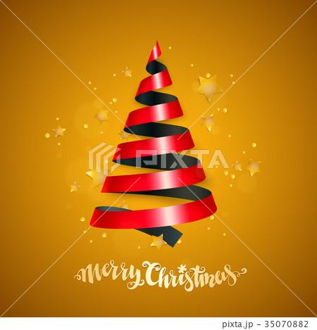 ribbon christmas treeのイラスト素材 35070882 pixta