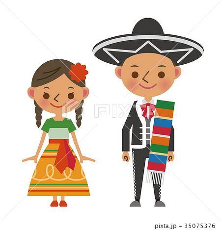メキシコ 民族衣装 メキシコ人 男女 人種のイラスト素材 35075376 Pixta