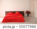 the Interior of the white room with a bed with red 35077986