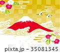 鶴 富士山 波のイラスト 35081345