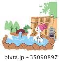 人物 温泉 露天風呂のイラスト 35090897
