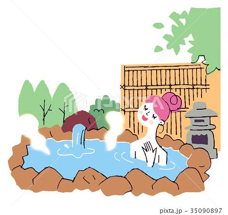 露天風呂の女性 35090897