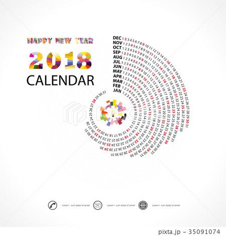 2018 Calendar Template.Spiral calendar. 35091074