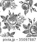 花 シームレス バラのイラスト 35097887