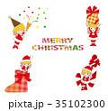クリスマス 天使 サンタクロースのイラスト 35102300