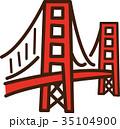 世界イラストマップ ゴールデンゲートブリッジ 35104900