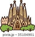 世界イラストマップ サグラダファミリア 35104901