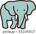 世界イラストマップ ゾウ 35104917