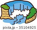 世界イラストマップ ナイアガラの滝 35104925