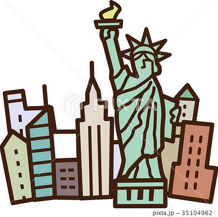 世界イラストマップ 自由の女神のイラスト素材 35104962 Pixta