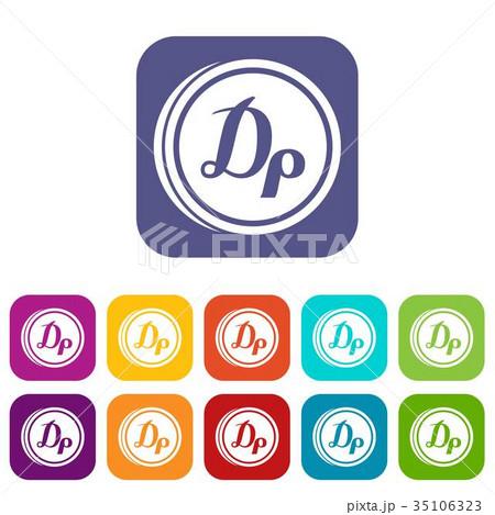 Coin drachma icons set 35106323