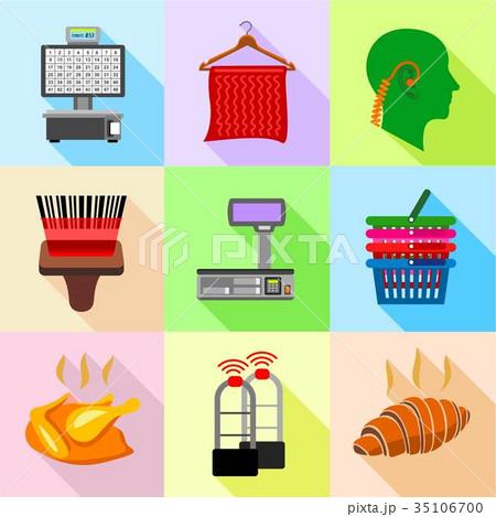 Supermarket control icons set, flat style 35106700