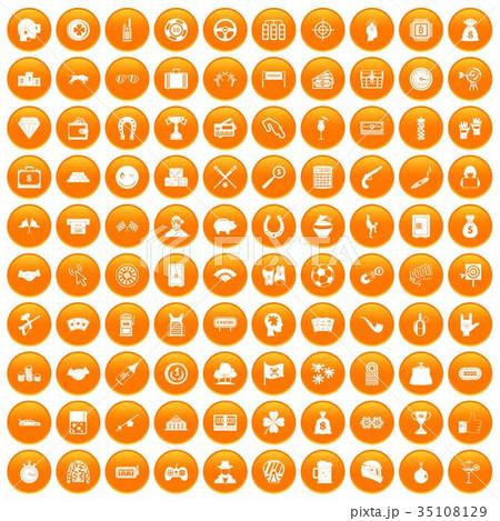 100 gambling icons set orange 35108129