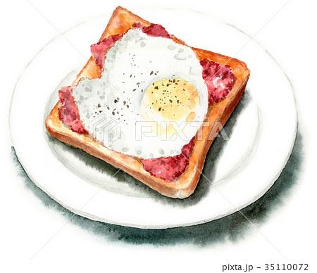 水彩で描いたベーコンエッグトースト 35110072