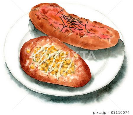 水彩で描いたマヨコーンブレッドと明太フランスパン 35110074