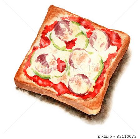 水彩で描いたピザトースト 35110075