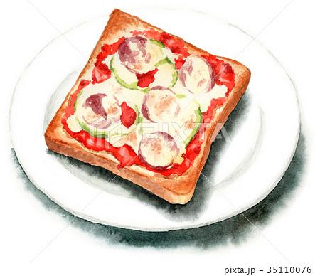 水彩で描いたピザトースト 35110076