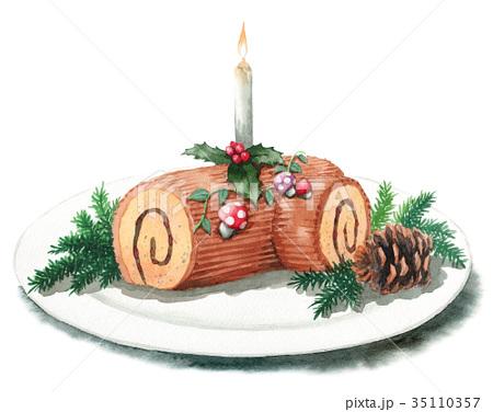 水彩で描いたクリスマスケーキ/ブッシュドノエル 35110357