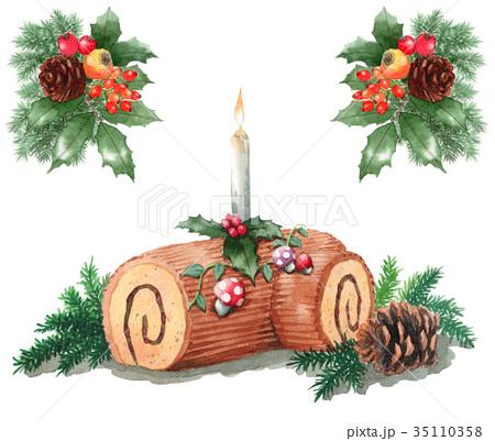 水彩で描いたクリスマスケーキ/ブッシュドノエル 35110358