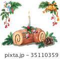 ブッシュドノエル クリスマスケーキ ケーキのイラスト 35110359