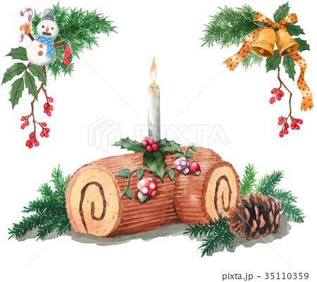 水彩で描いたクリスマスケーキ/ブッシュドノエル 35110359