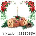 ブッシュドノエル クリスマスケーキ スイーツのイラスト 35110360
