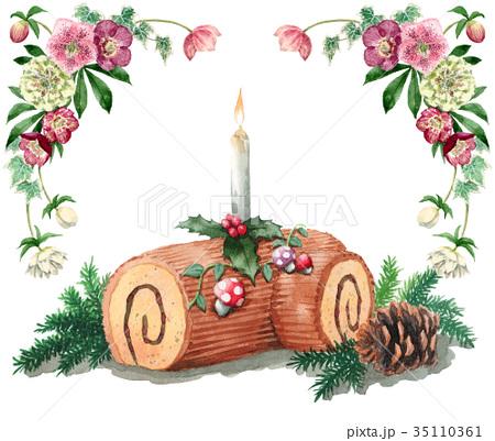 水彩で描いたクリスマスケーキ/ブッシュドノエル 35110361