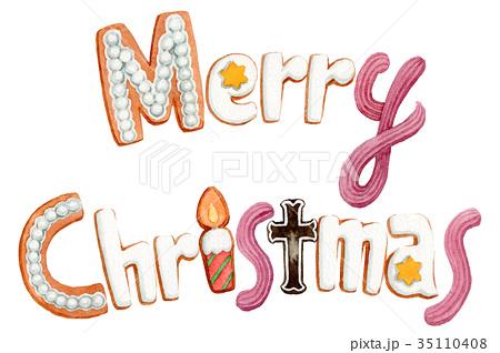 水彩で描いたメリークリスマスの文字クッキー 35110408