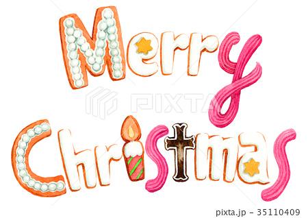 水彩で描いたメリークリスマスの文字クッキー 35110409