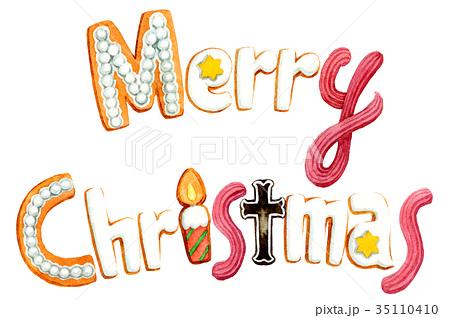 水彩で描いたメリークリスマスの文字クッキー 35110410