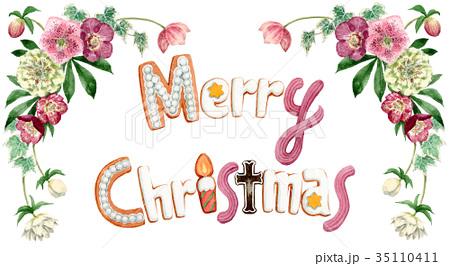 水彩で描いたメリークリスマスの文字クッキー 35110411